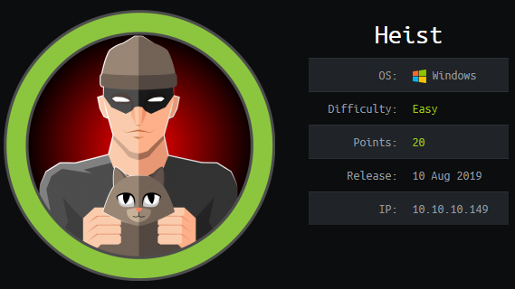 Heist - Hack The Box - snowscan io
