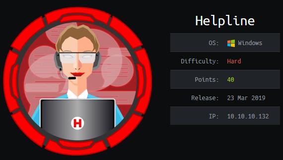 Helpline - Hack The Box - snowscan io