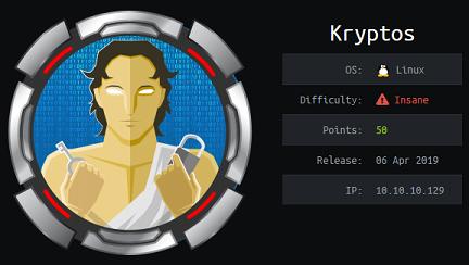 Kryptos - Hack The Box - snowscan io