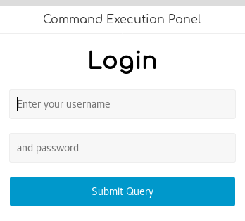 Command Execution Panel Login